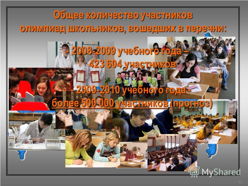 Общее количество участников олимпиад школьников, вошедших в перечни: 13 - 2008-2009 учебного года – 423 604 участников - 2009-2010 учебного года - более 500 000 участников (прогноз)