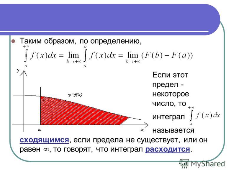 Таким образом, по определению, Если этот предел - некоторое число, то интеграл называется сходящимся, если предела не существует, или он равен, то говорят, что интеграл расходится.