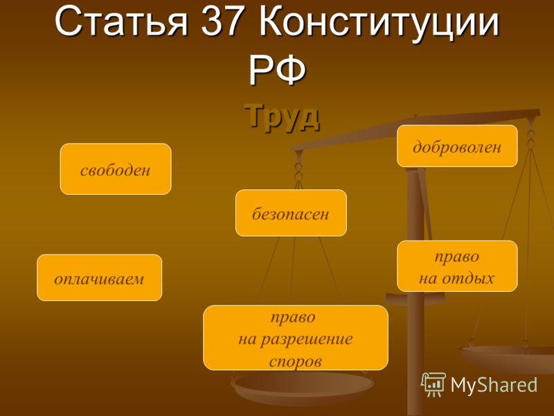 Статья 37 Конституции РФ Труд свободен оплачиваем право на разрешение споров безопасен право на отдых доброволен