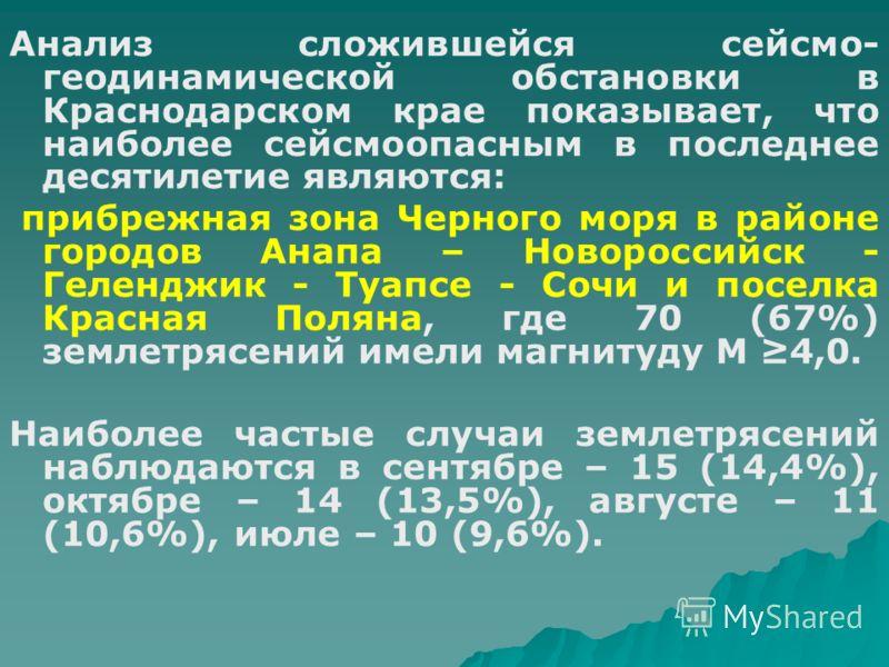 Анализ сложившейся сейсмо- геодинамической обстановки в Краснодарском крае показывает, что наиболее сейсмоопасным в последнее десятилетие являются: прибрежная зона Черного моря в районе городов Анапа – Новороссийск - Геленджик - Туапсе - Сочи и посел