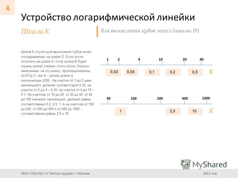 Устройство логарифмической линейки Шкала К служит для вычисления кубов чисел, откладываемых на шкале D. Если число отложить на шкале К, то на шкале В будет корень третей степени этого числа. Отрезки, нанесенные на эту шкалу, пропорциональны (m/3)*lg
