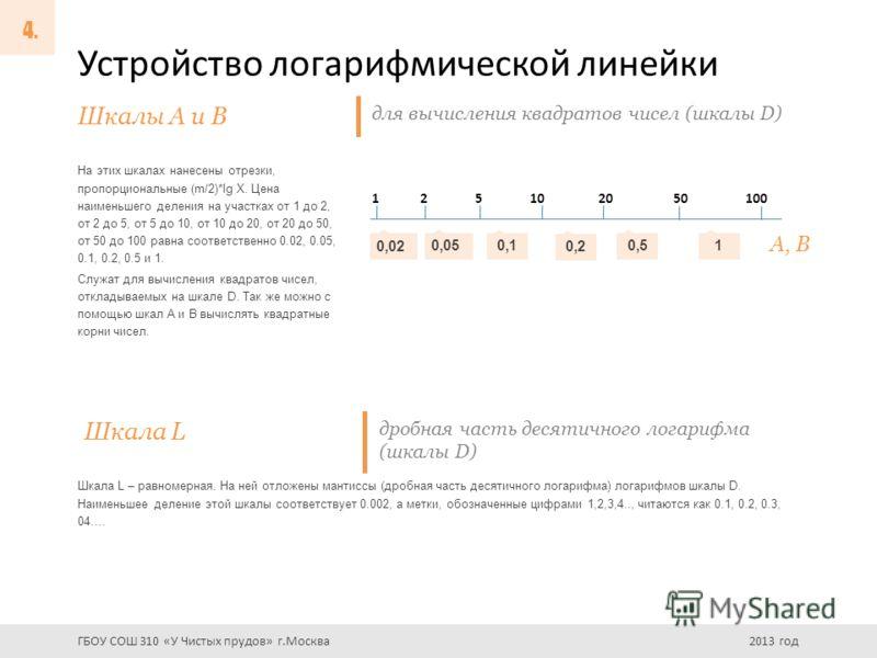 Устройство логарифмической линейки На этих шкалах нанесены отрезки, пропорциональные (m/2)*lg X. Цена наименьшего деления на участках от 1 до 2, от 2 до 5, от 5 до 10, от 10 до 20, от 20 до 50, от 50 до 100 равна соответственно 0.02, 0.05, 0.1, 0.2,