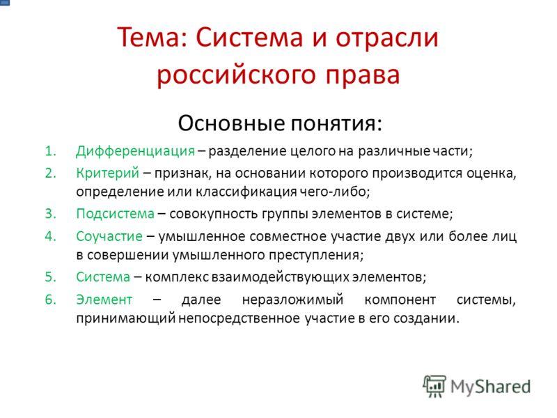 Тема: Система и отрасли российского права Основные понятия: 1.Дифференциация – разделение целого на различные части; 2.Критерий – признак, на основании которого производится оценка, определение или классификация чего-либо; 3.Подсистема – совокупность