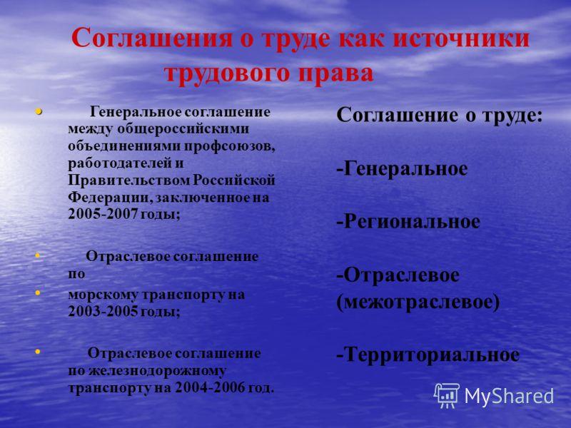 Соглашения о труде как источники трудового права Генеральное соглашение между общероссийскими объединениями профсоюзов, работодателей и Правительством Российской Федерации, заключенное на 2005-2007 годы; Отраслевое соглашение по морскому транспорту н
