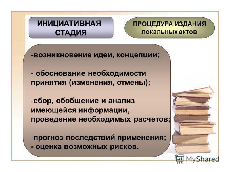 ИНИЦИАТИВНАЯ СТАДИЯ ПРОЦЕДУРА ИЗДАНИЯ локальных актов ПОДГОТОВКА ПРОЕКТА ОБСУЖДЕНИЕ (ЭКСПЕРТИЗА) ПРИНЯТИЕ И УТВЕРЖДЕНИЕ ОБНАРОДОВАНИЕ