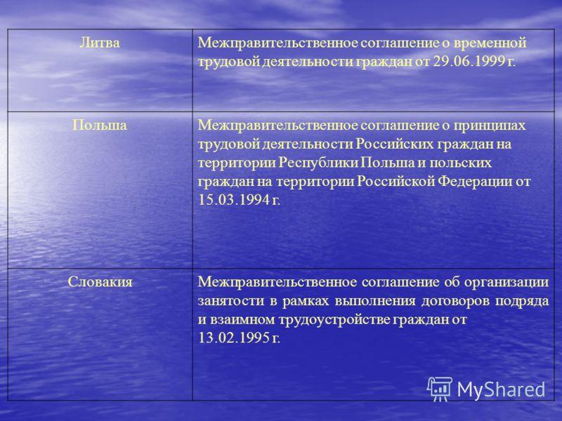 ЛитваМежправительственное соглашение о временной трудовой деятельности граждан от 29.06.1999 г. ПольшаМежправительственное соглашение о принципах трудовой деятельности Российских граждан на территории Республики Польша и польских граждан на территори
