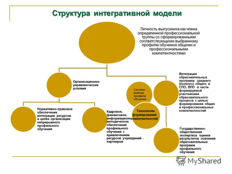 Структура интегративной модели Личность выпускника как члена определенной профессиональной группы со сформированными соответствующими выбранному профилю обучения общими и профессиональными компетентностями Организационно- управленческие условия Норма