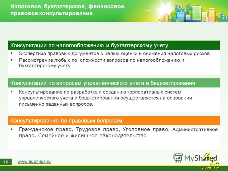 www.audit-lex.ru 12 Экспертиза правовых документов с целью оценки и снижения налоговых рисков Рассмотрение любых по сложности вопросов по налогообложению и бухгалтерскому учету Консультации по налогообложению и бухгалтерскому учету Консультирование п