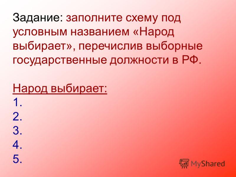 Задание: заполните схему под условным названием «Народ выбирает», перечислив выборные государственные должности в РФ. Народ выбирает: 1. 2. 3. 4. 5.