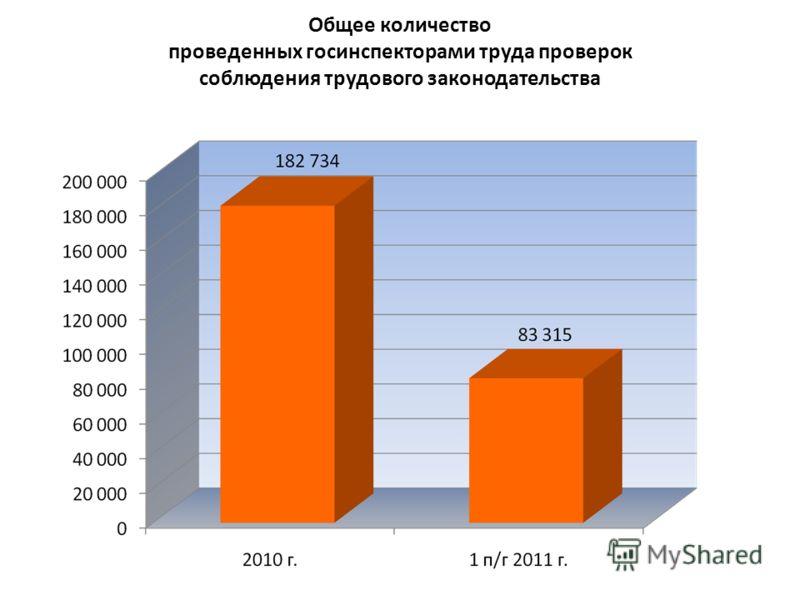 Общее количество проведенных госинспекторами труда проверок соблюдения трудового законодательства