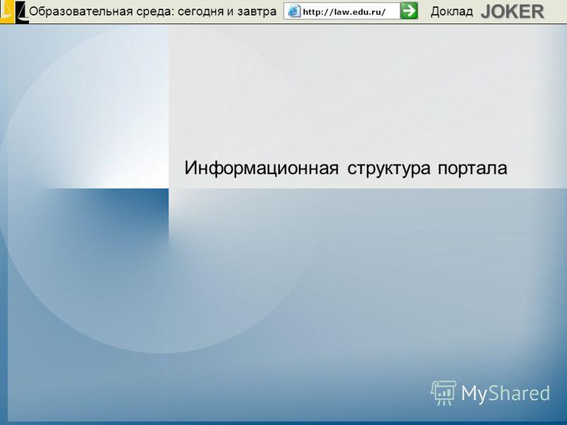 Образовательная среда: сегодня и завтра http://law.edu.ru/JOKER Доклад Информационная структура портала