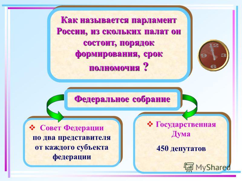Государственная Дума 450 депутатов Государственная Дума 450 депутатов Совет Федерации по два представителя от каждого субъекта федерации Совет Федерации по два представителя от каждого субъекта федерации Как называется парламент России, из скольких п