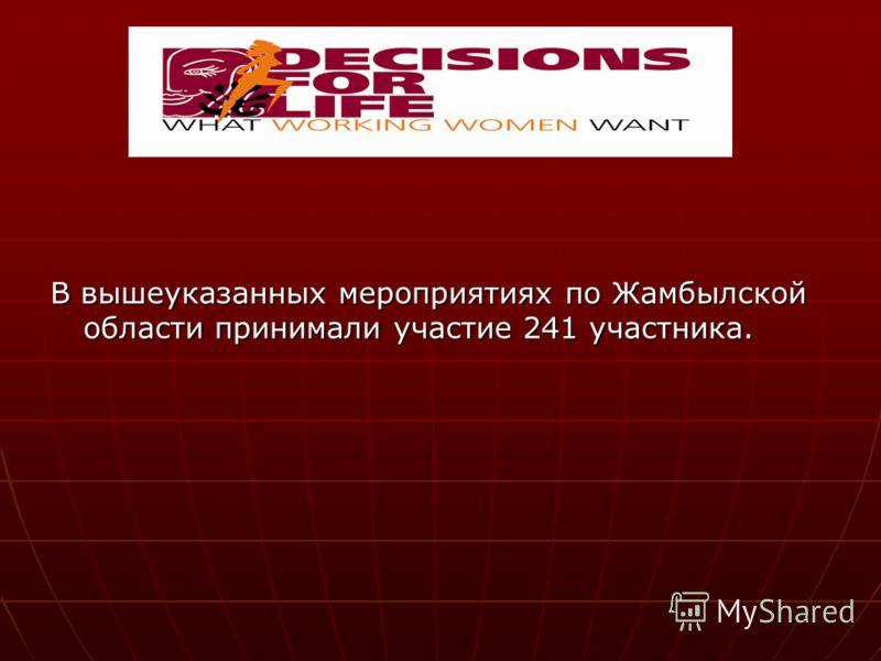В вышеуказанных мероприятиях по Жамбылской области принимали участие 241 участника.