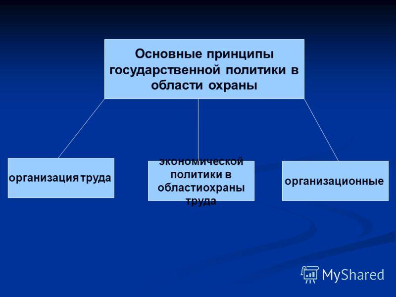 Основные принципы государственной политики в области охраны организация труда экономической политики в областиохраны труда организационные