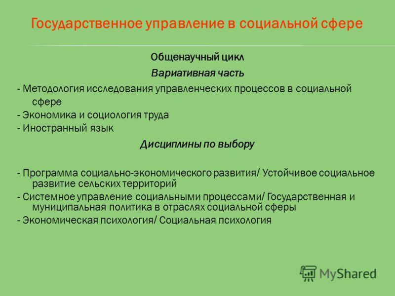Государственное управление в социальной сфере Общенаучный цикл Вариативная часть - Методология исследования управленческих процессов в социальной сфере - Экономика и социология труда - Иностранный язык Дисциплины по выбору - Программа социально-эконо