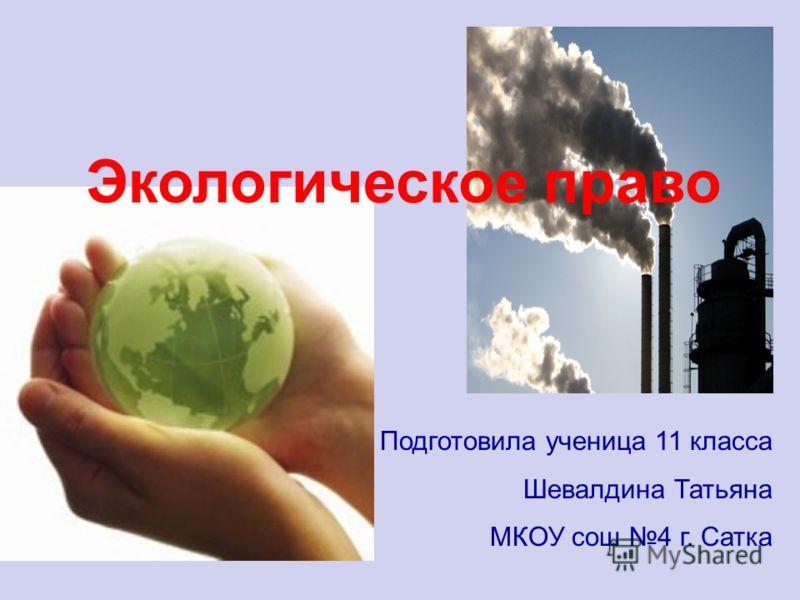 Экологическое право Подготовила ученица 11 класса Шевалдина Татьяна МКОУ сош 4 г. Сатка