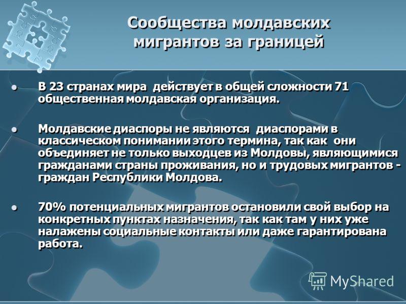 Сообщества молдавских мигрантов за границей В 23 странах мира действует в общей сложности 71 общественная молдавская организация. Молдавские диаспоры не являются диаспорами в классическом понимании этого термина, так как они объединяет не только выхо