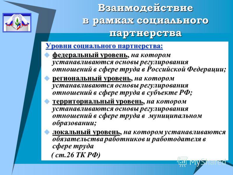 Взаимодействие в рамках социального партнерства Уровни социального партнерства: Уровни социального партнерства: федеральный уровень, федеральный уровень, на котором устанавливаются основы регулирования отношений в сфере труда в Российской Федерации;