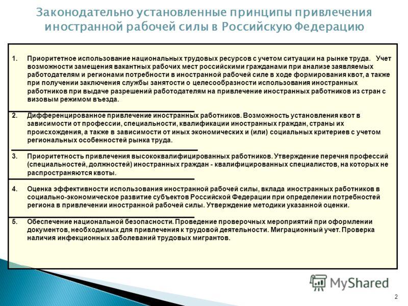 2 Законодательно установленные принципы привлечения иностранной рабочей силы в Российскую Федерацию 1.Приоритетное использование национальных трудовых ресурсов с учетом ситуации на рынке труда. Учет возможности замещения вакантных рабочих мест россий