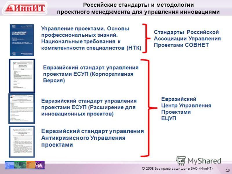 13 Российские стандарты и методологии проектного менеджмента для управления инновациями © 2008 Все права защищены ЗАО «ИннИТ»