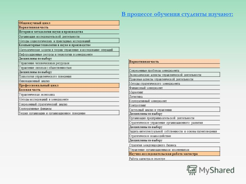 В процессе обучения студенты изучают: Общенаучный цикл Вариативная часть История и методология науки и производства Организация исследовательской деятельности Методы социологических и прикладных исследований Компьютерные технологии в науке и производ