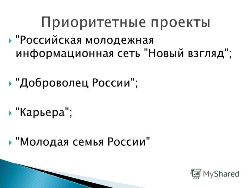 Российская молодежная информационная сеть Новый взгляд; Доброволец России; Карьера; Молодая семья России
