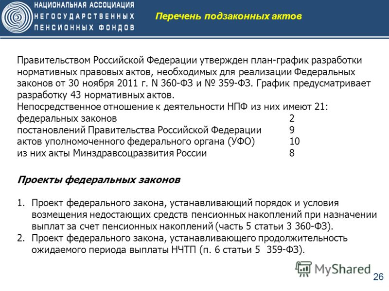 26 Правительством Российской Федерации утвержден план-график разработки нормативных правовых актов, необходимых для реализации Федеральных законов от 30 ноября 2011 г. N 360-ФЗ и 359-ФЗ. График предусматривает разработку 43 нормативных актов. Непосре