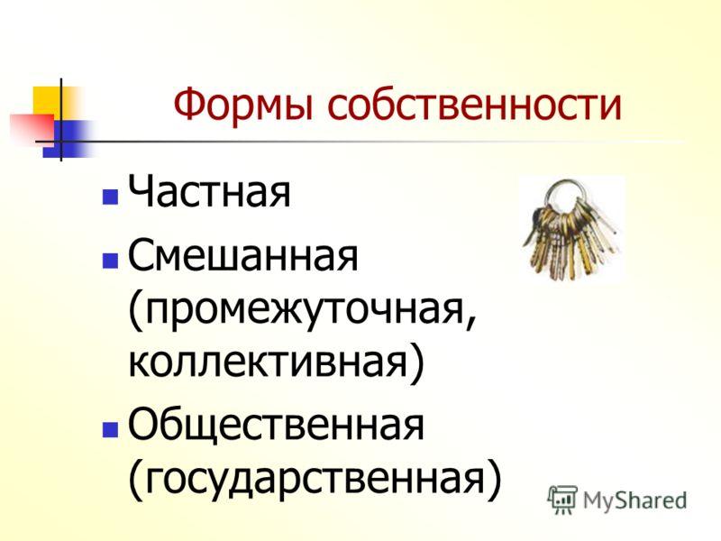 Формы собственности Частная Смешанная (промежуточная, коллективная) Общественная (государственная)
