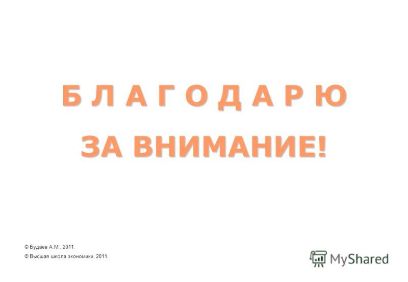 Б Л А Г О Д А Р Ю ЗА ВНИМАНИЕ! © Будаев А.М., 2011. © Высшая школа экономики, 2011.