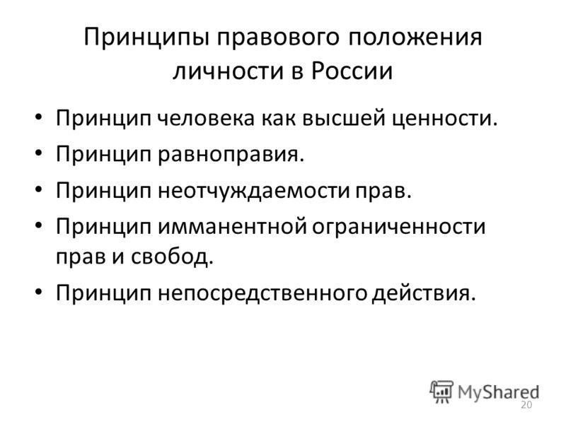 Принципы правового положения личности в России Принцип человека как высшей ценности. Принцип равноправия. Принцип неотчуждаемости прав. Принцип имманентной ограниченности прав и свобод. Принцип непосредственного действия. 20
