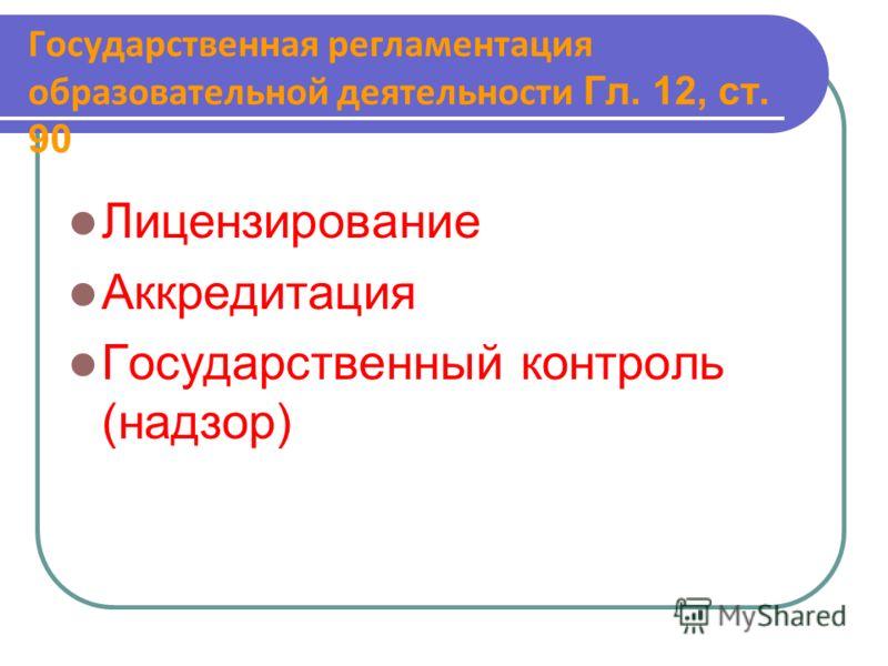 Государственная регламентация образовательной деятельности Гл. 12, ст. 90 Лицензирование Аккредитация Государственный контроль (надзор)