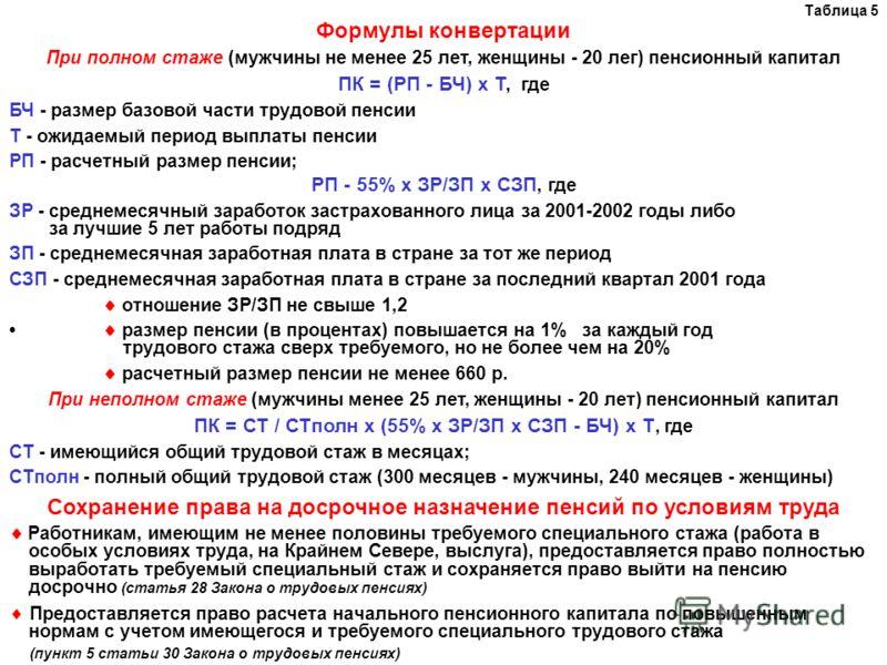 Таблица 5 Формулы конвертации При полном стаже (мужчины не менее 25 лет, женщины - 20 лег) пенсионный капитал ПК = (РП - БЧ) х Т, где БЧ - размер базовой части трудовой пенсии Т - ожидаемый период выплаты пенсии РП - расчетный размер пенсии; РП - 55%