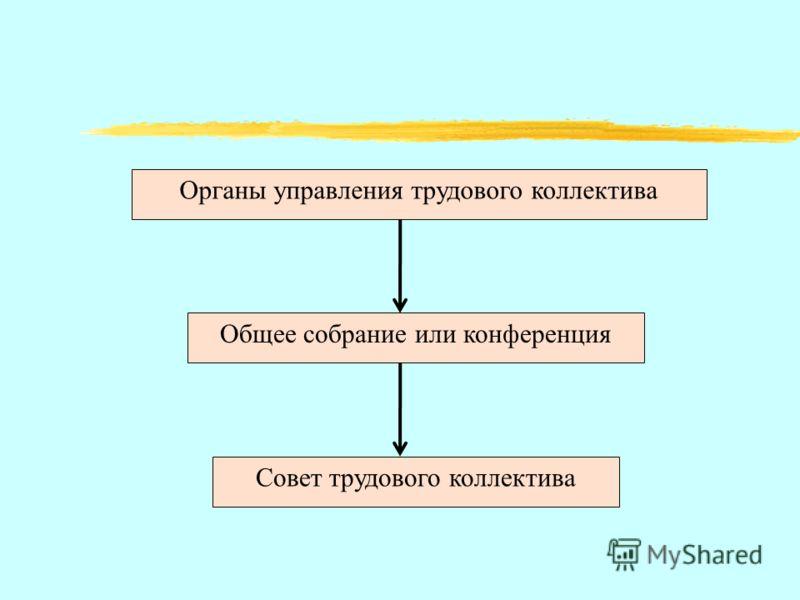 Органы управления трудового коллектива Общее собрание или конференция Совет трудового коллектива