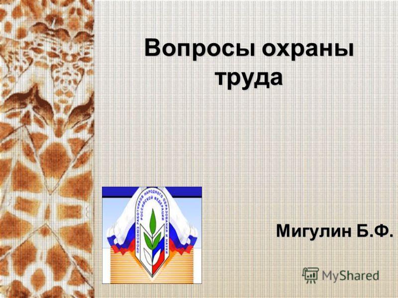 Вопросы охраны труда Мигулин Б.Ф.