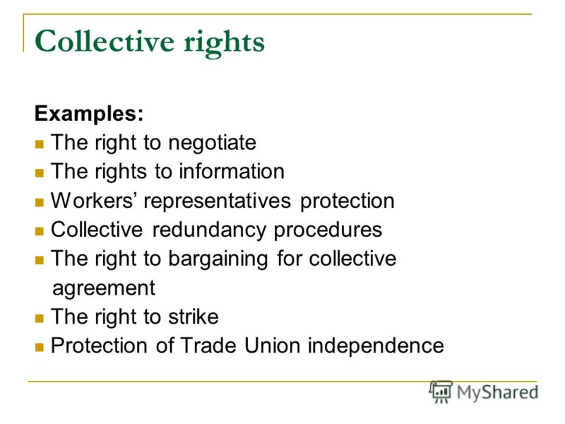 Collective rights Examples: The right to negotiate The rights to information Workers representatives protection Collective redundancy procedures The right to bargaining for collective agreement The right to strike Protection of Trade Union independen