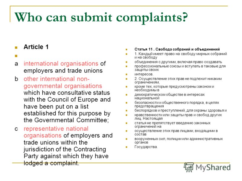 Who can submit complaints? Article 1 ainternational organisations of employers and trade unions bother international non- governmental organisations which have consultative status with the Council of Europe and have been put on a list established for