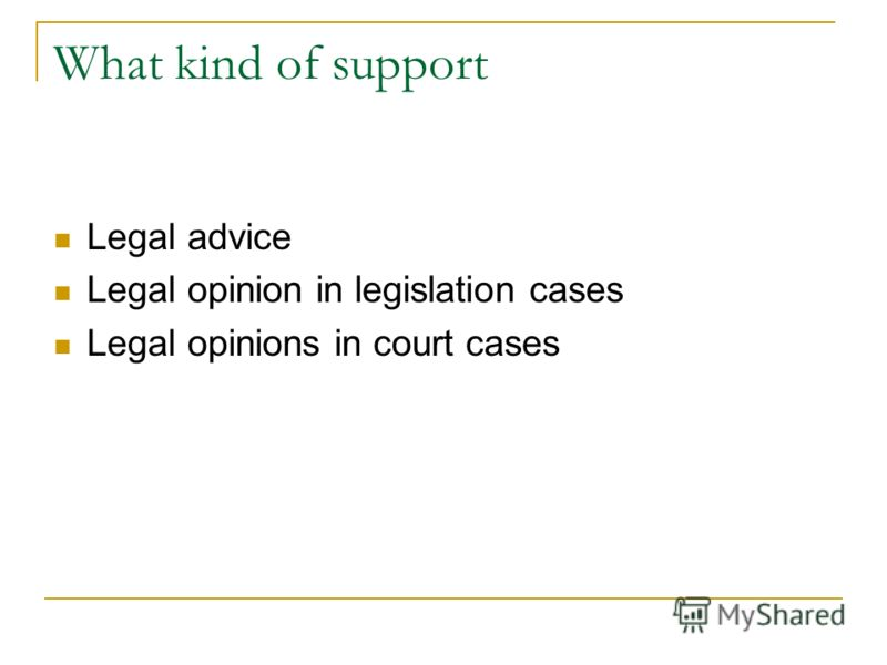 What kind of support Legal advice Legal opinion in legislation cases Legal opinions in court cases