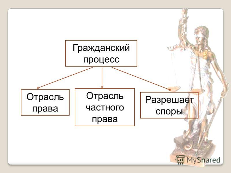 16 Гражданский процесс Отрасль права Отрасль частного права Разрешает споры