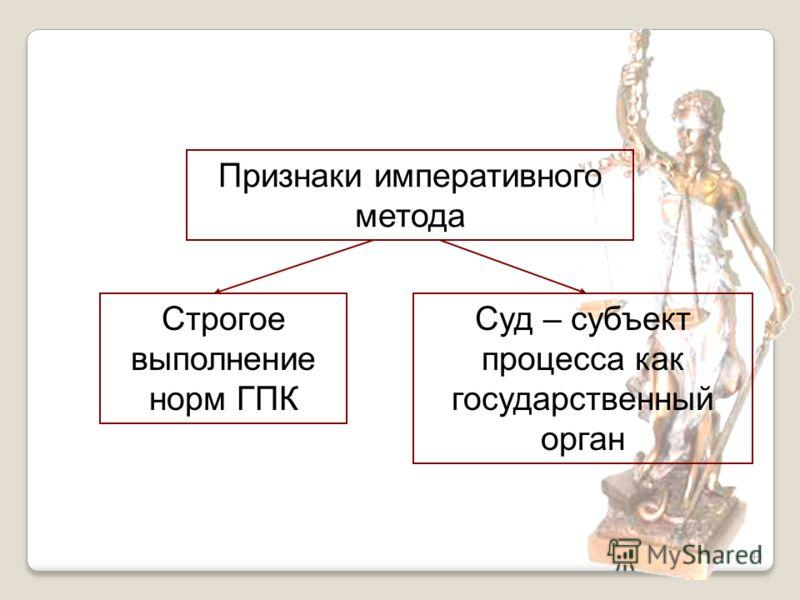 44 Признаки императивного метода Строгое выполнение норм ГПК Суд – субъект процесса как государственный орган
