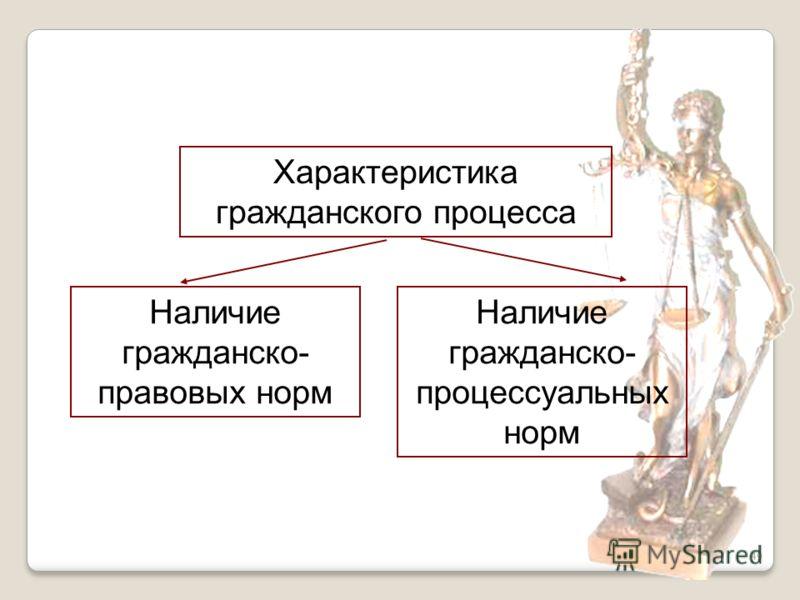 49 Характеристика гражданского процесса Наличие гражданско- правовых норм Наличие гражданско- процессуальных норм
