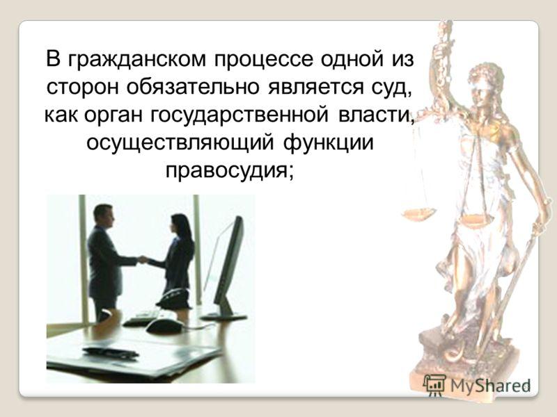 58 В гражданском процессе одной из сторон обязательно является суд, как орган государственной власти, осуществляющий функции правосудия;