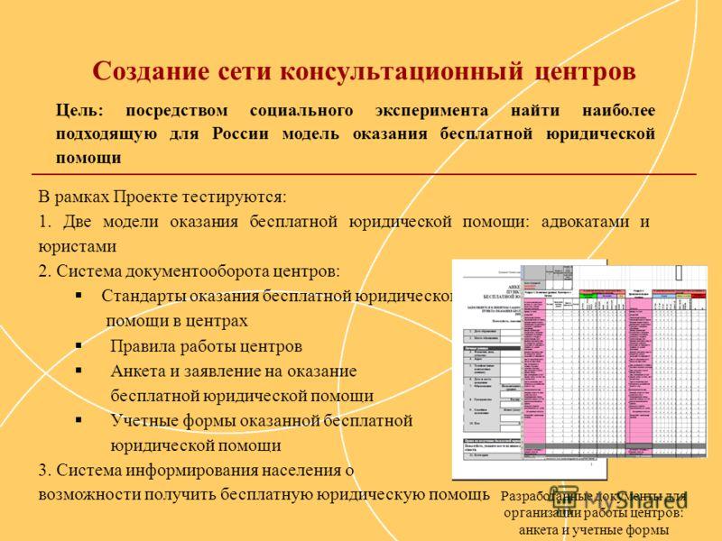 Создание сети консультационный центров Цель: посредством социального эксперимента найти наиболее подходящую для России модель оказания бесплатной юридической помощи В рамках Проекте тестируются: 1. Две модели оказания бесплатной юридической помощи: а