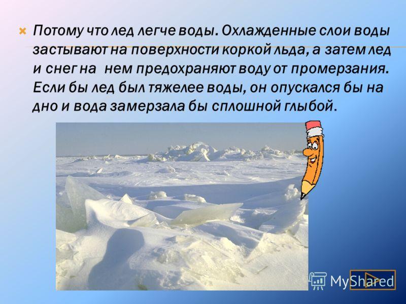 Почему вода в реках и озерах зимой не промерзает до дна?