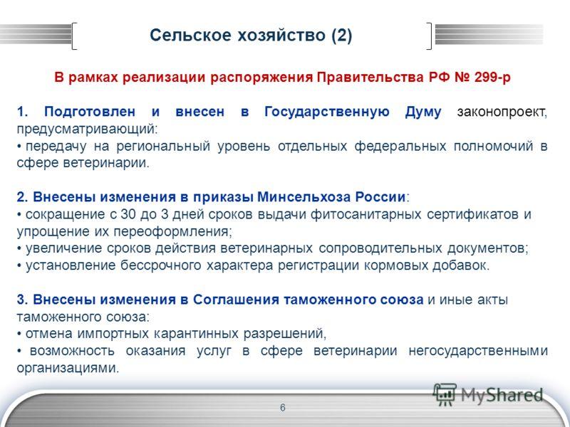 Сельское хозяйство (2) В рамках реализации распоряжения Правительства РФ 299-р 1. Подготовлен и внесен в Государственную Думу законопроект, предусматривающий: передачу на региональный уровень отдельных федеральных полномочий в сфере ветеринарии. 2. В
