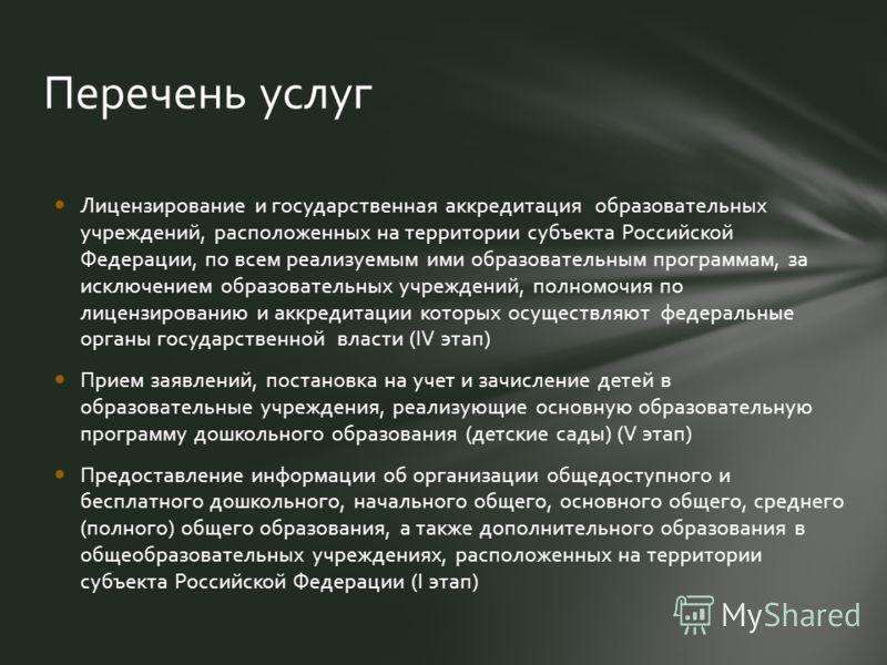 Лицензирование и государственная аккредитация образовательных учреждений, расположенных на территории субъекта Российской Федерации, по всем реализуемым ими образовательным программам, за исключением образовательных учреждений, полномочия по лицензир