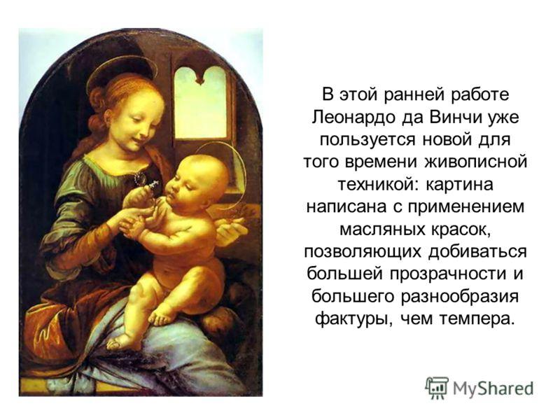 В этой ранней работе Леонардо да Винчи уже пользуется новой для того времени живописной техникой: картина написана с применением масляных красок, позволяющих добиваться большей прозрачности и большего разнообразия фактуры, чем темпера.
