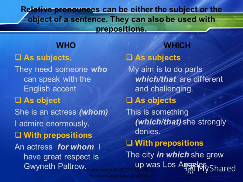 Relative pronounces can be either the subject or the object of a sentence. They can also be used with prepositions. WHO As subjects. They need someone who can speak with the English accent As object She is an actress (whom) I admire enormously. With