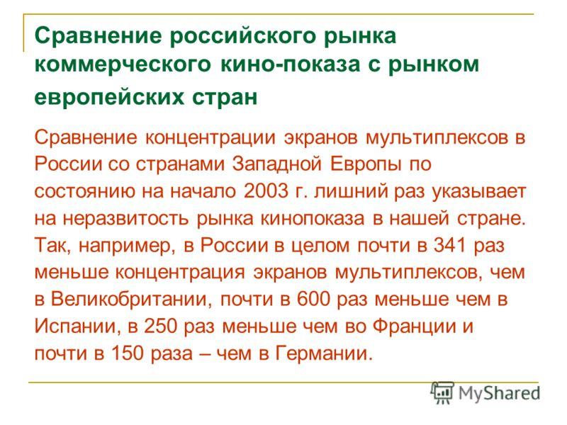 Сравнение российского рынка коммерческого кино-показа с рынком европейских стран Сравнение концентрации экранов мультиплексов в России со странами Западной Европы по состоянию на начало 2003 г. лишний раз указывает на неразвитость рынка кинопоказа в