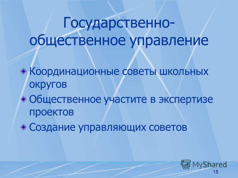 15 Государственно- общественное управление Координационные советы школьных округов Общественное участите в экспертизе проектов Создание управляющих советов
