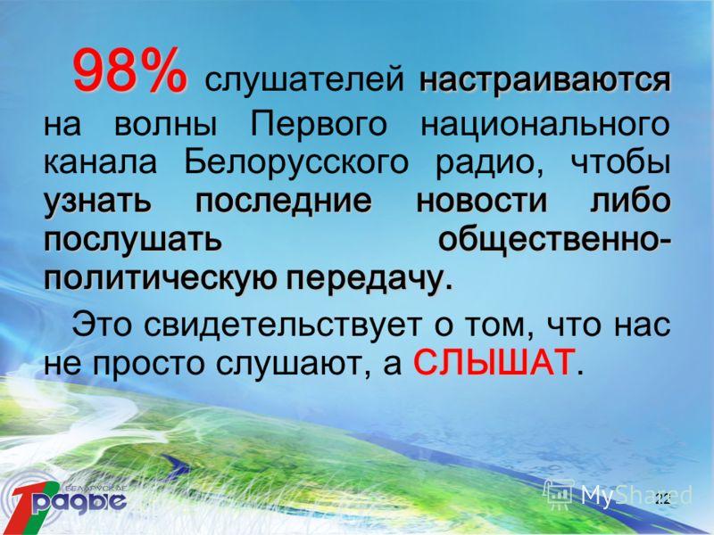 22 98% настраиваются узнать последние новости либо послушать общественно- политическую передачу. 98% слушателей настраиваются на волны Первого национального канала Белорусского радио, чтобы узнать последние новости либо послушать общественно- политич